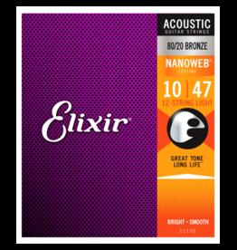 Elixir Elixir 11152 80/20 Bronze (12 String) Acoustic Guitar Strings with NANOWEB. Light 10-47 & 10-27