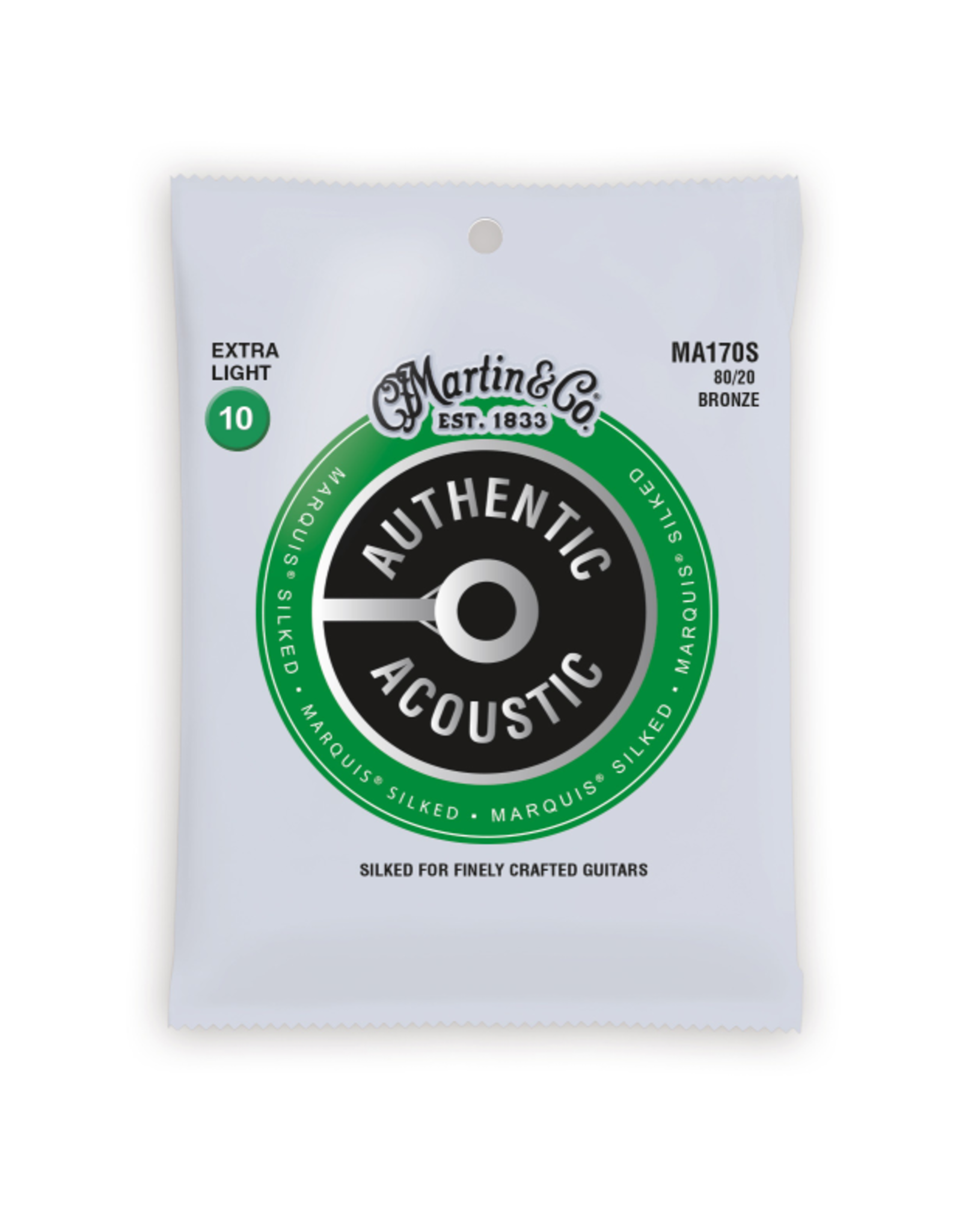 Martin & Co Martin MA170S Authentic Acoustic Marquis Silked 80/20 Bronze Extra Light Guitar Strings. 10-47