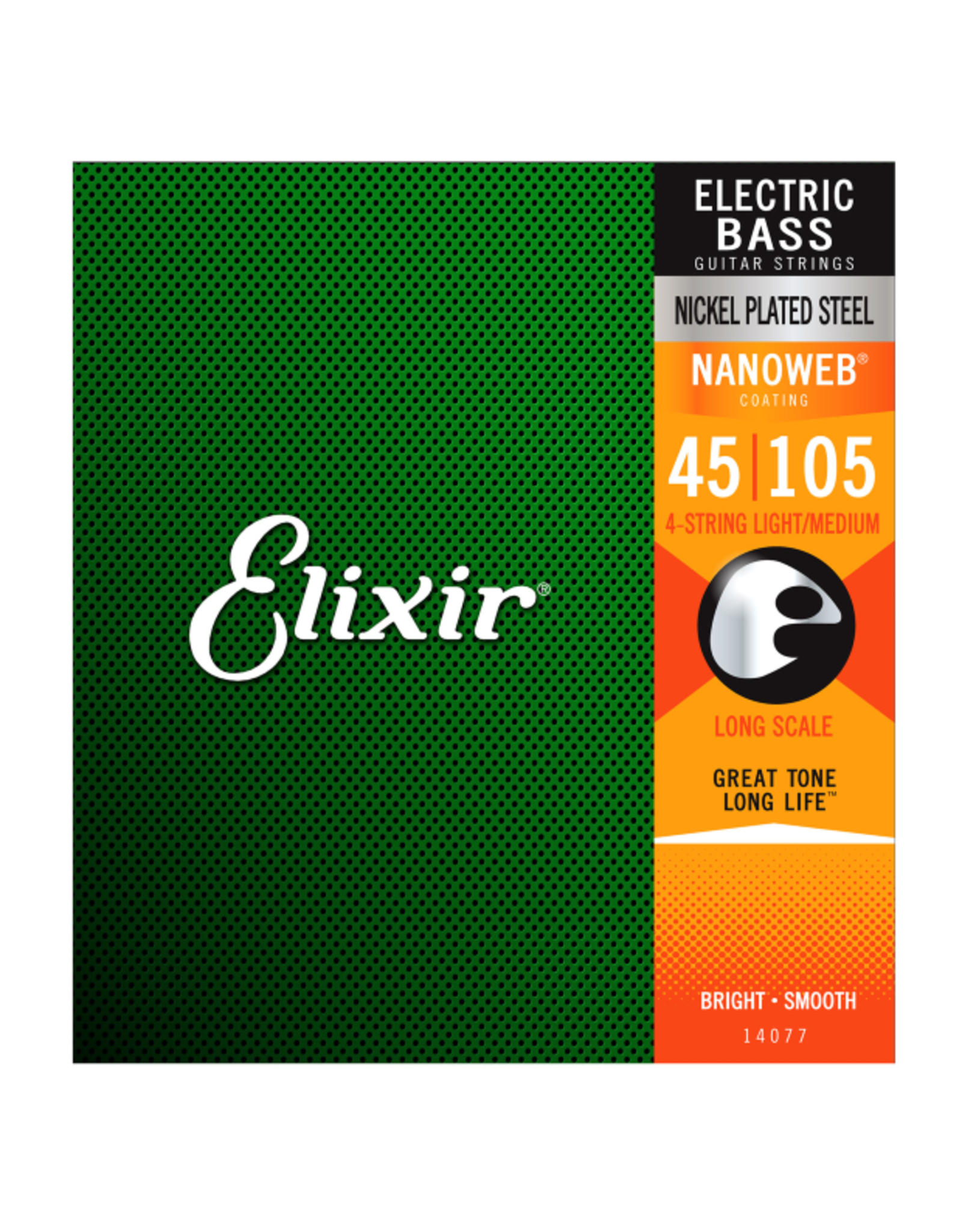 Elixir Elixir 14077 Nickel Plated Steel Bass Strings w/NANOWEB. Long Scale Medium 50-105