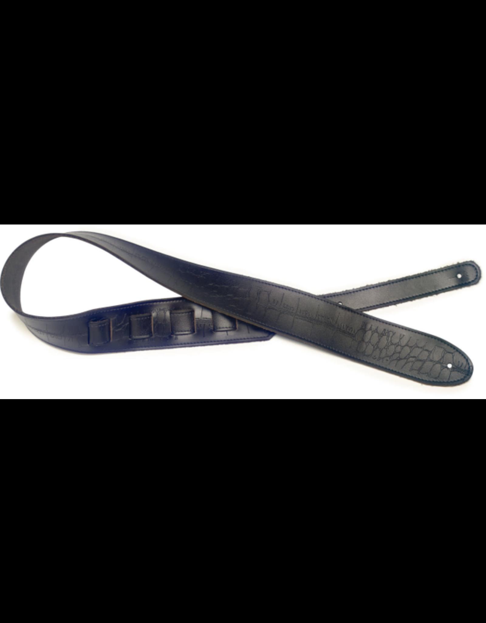 Stagg Stagg Black Leather Guitar Strap w/Pressed Crocodile Pattern Black