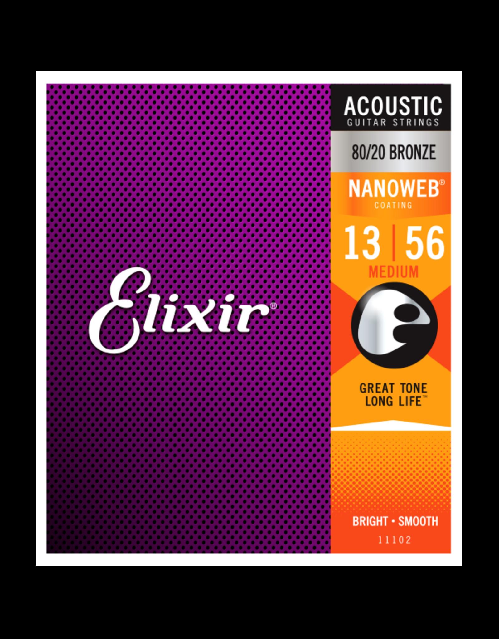 Elixir Elixir 11102 80/20 Bronze Acoustic w/NANOWEB. Medium 13-56