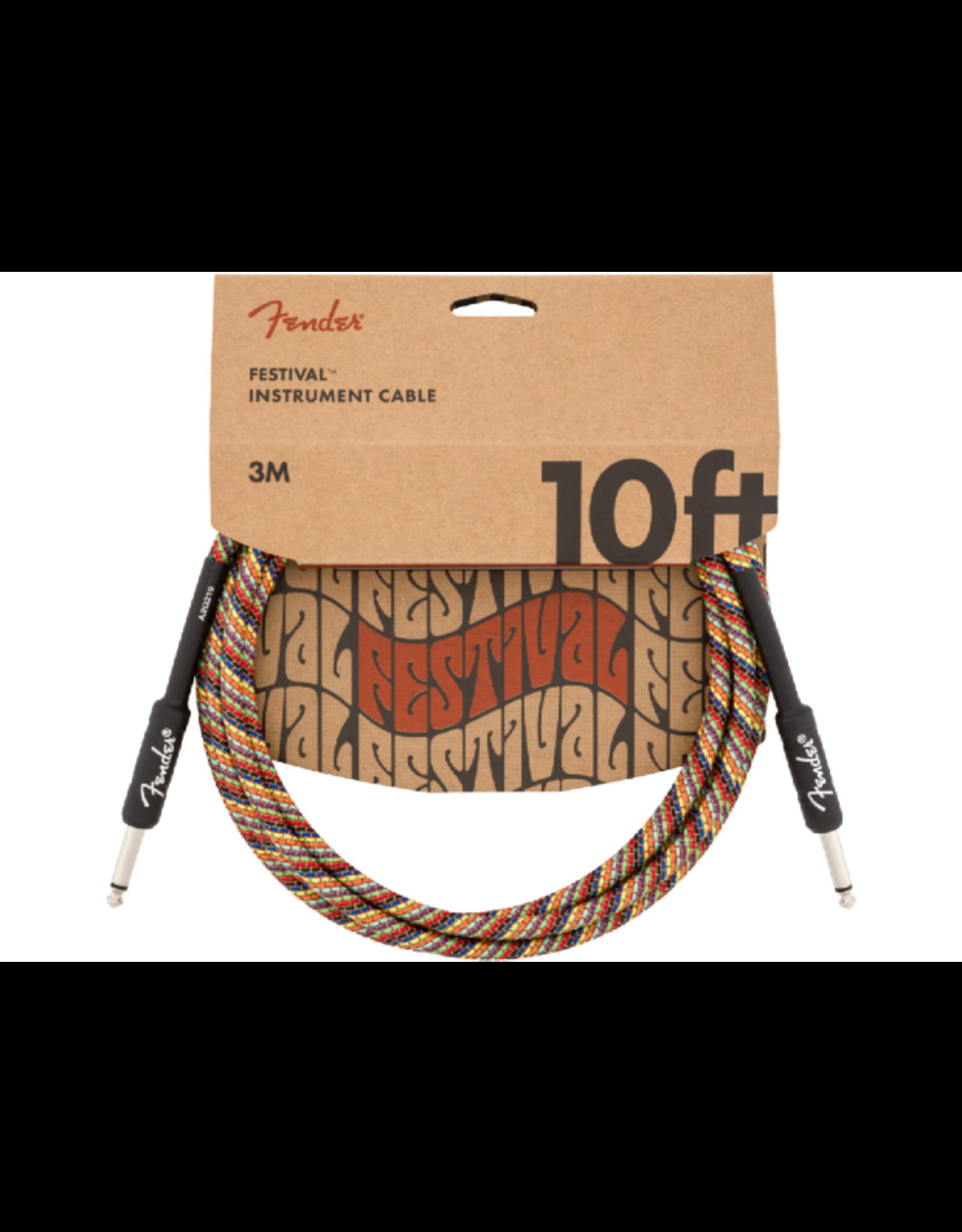Fender Fender Festival Pure Hemp Instrument Cable Rainbow 10'