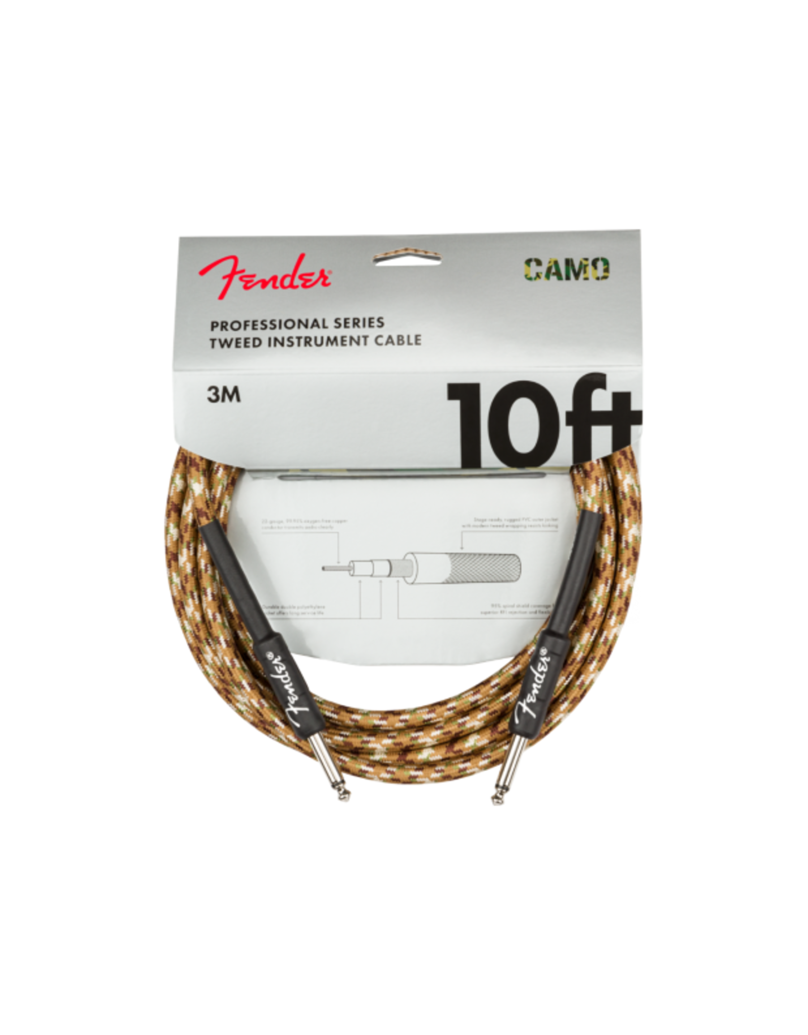 Fender Fender Pro Series Tweed Instrument Cable Desert Camo 10'