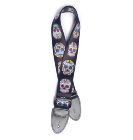 Stagg Stagg Terylene Guitar Strap Mexican Skull Pattern