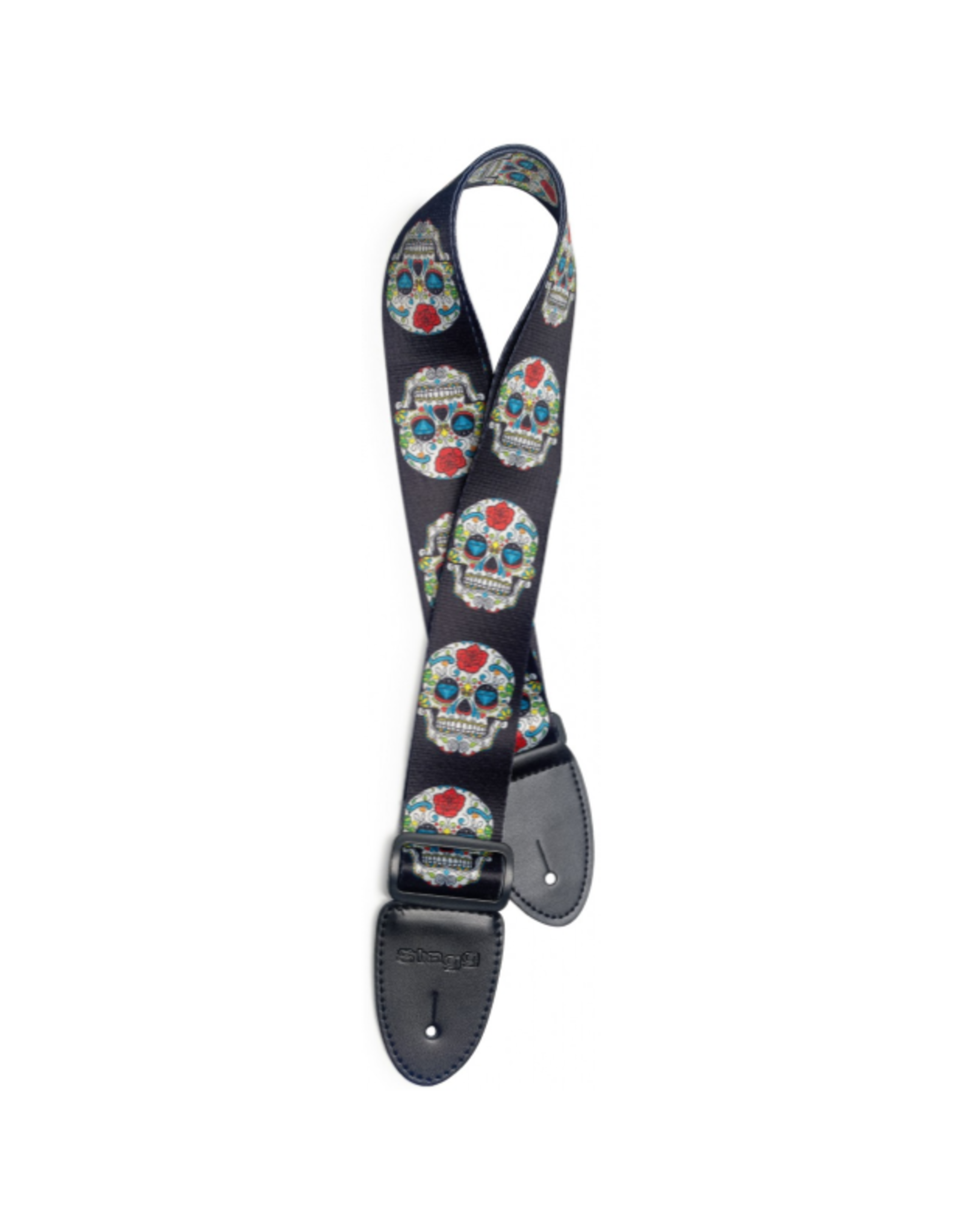 Stagg Stagg Terylene Guitar Strap Mexican Skull Red Rose Pattern