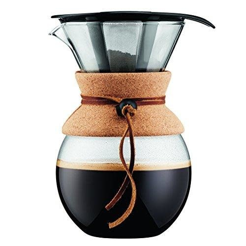 Bodum Pour Over Coffee Maker Glass Carafe With Metal-perforated Filter & Cork-grip 34oz