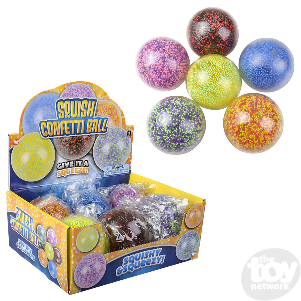 Toy Network Squish Confetti Ball Assorted Colors 4in