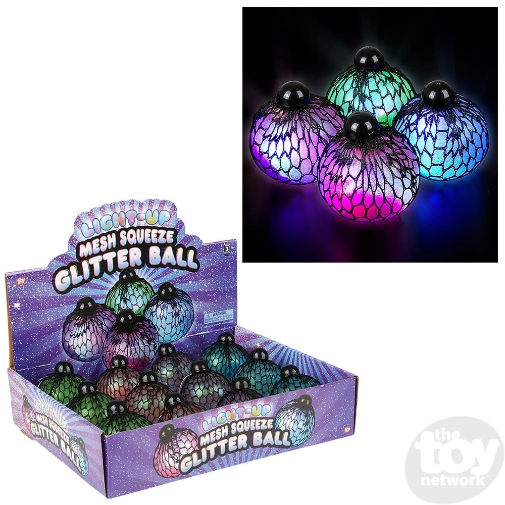 Toy Network Squish Mesh Ball Light Up Glitter