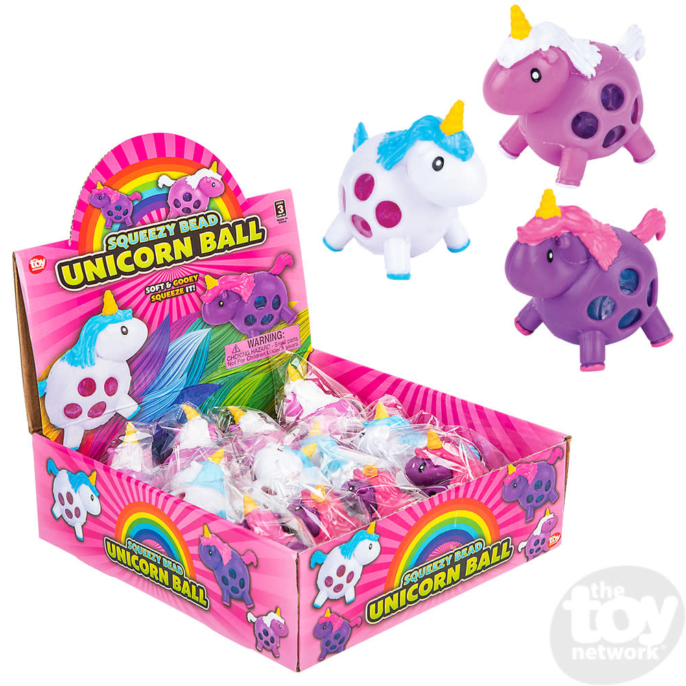 Toy Network Unicorn Squeezy Bead Ball 3.25in