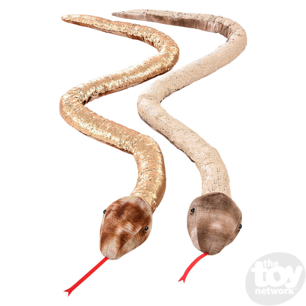 "Toy Network Sequinimals Stuffed Animals Snake 2 Styles Beige/White, Brown/White 67"""