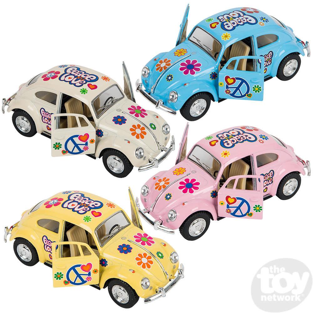 "Toy Network Diecast Pull Back Car Volkswagon Beetle Flower Power 5"""
