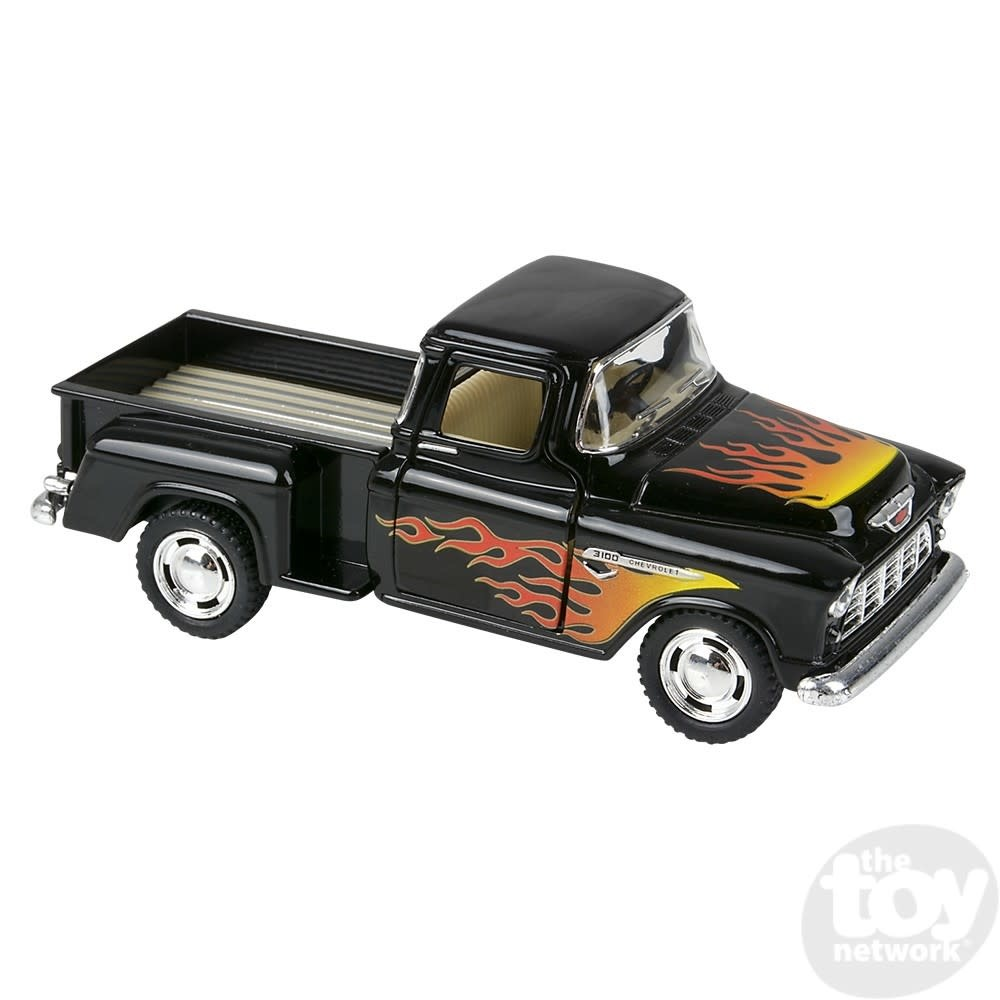 """Toy Network Diecast Pull Back Pickup Truck Chevy Stepside With Flame Print 1955 5"""""""