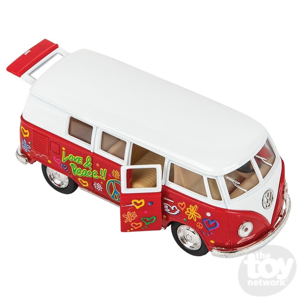 Toy Network Diecast Pull Back Volkswagon Bus Flower Power