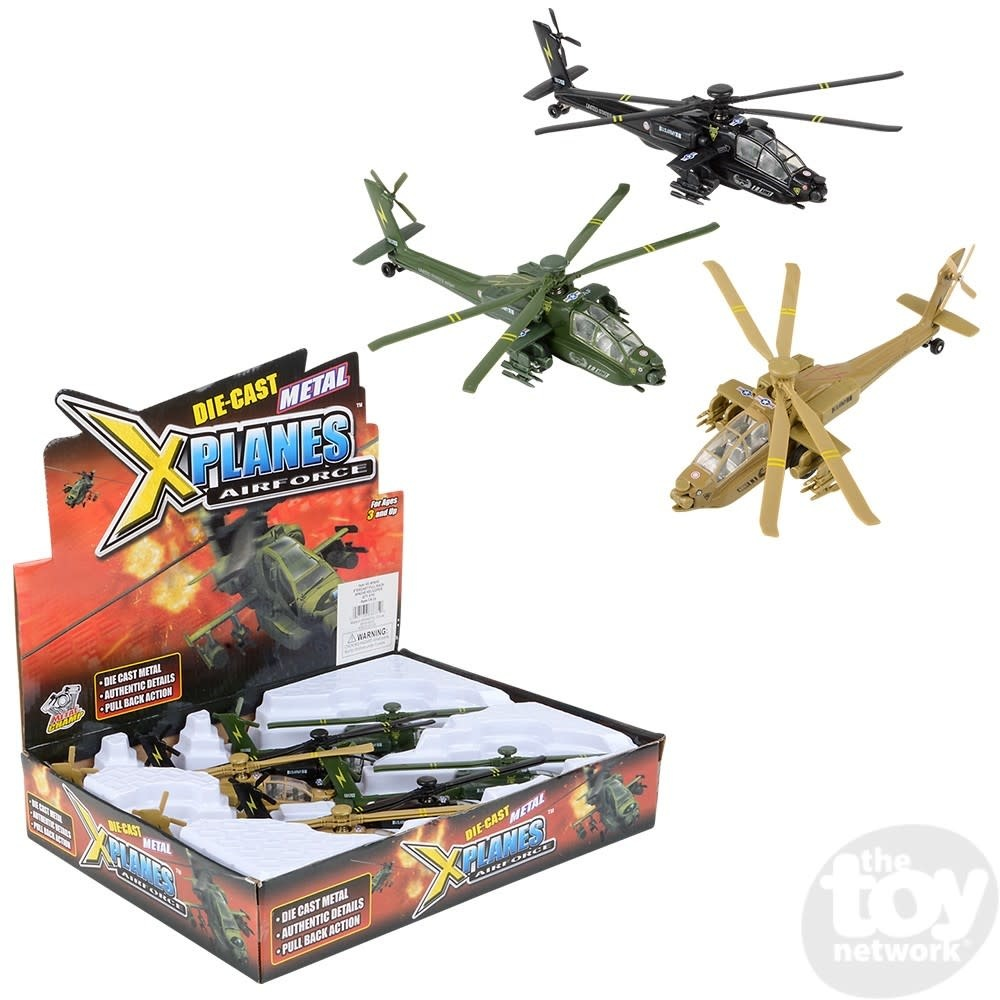 """Toy Network Diecast Pull Back Helicopter Apache 8"""""""