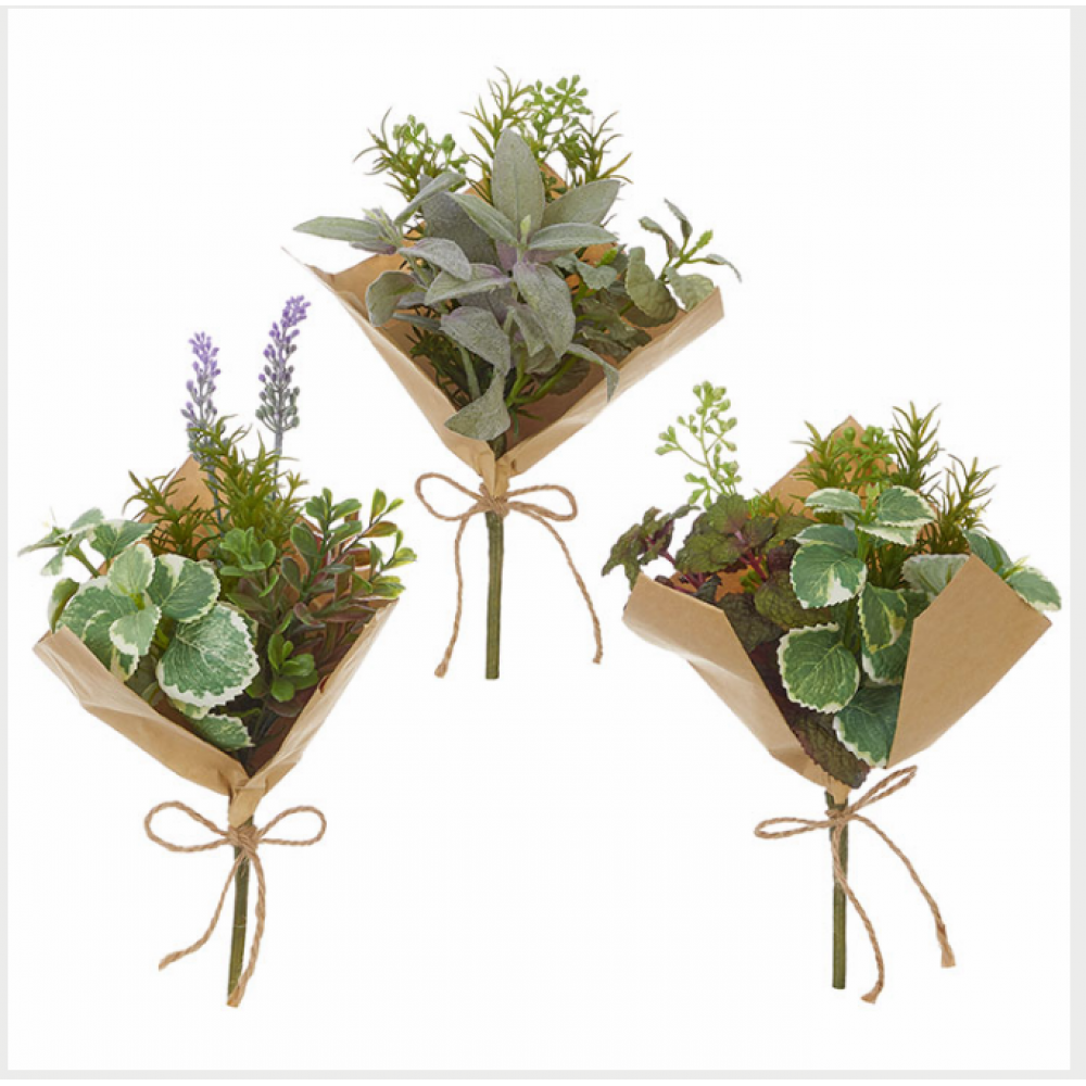 RAZ Everyday Herb Bouquet Wrapped in Paper 15in