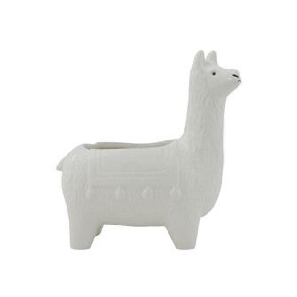 Creative Co-Op Planter - Ceramic Llama, White