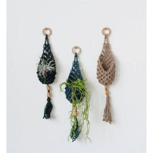Creative Co-Op Planter - Hanging Wall Planter, Jute, Pocket w/ Wood Beads & Tassels