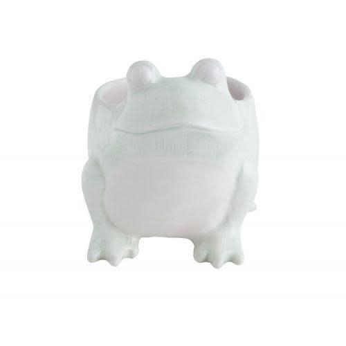 Creative Co-Op Planter - Frog, Green & White