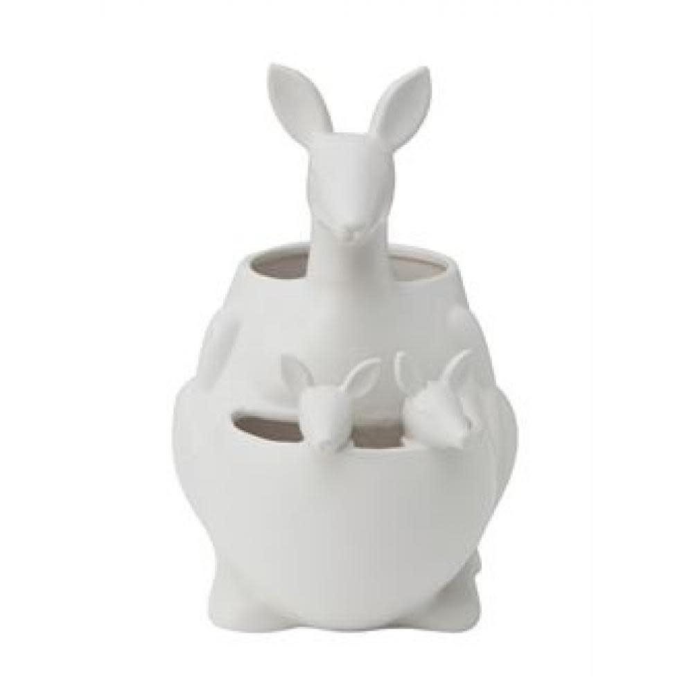 Creative Co-Op Planter - Kangaroo Ceramic Matte, White