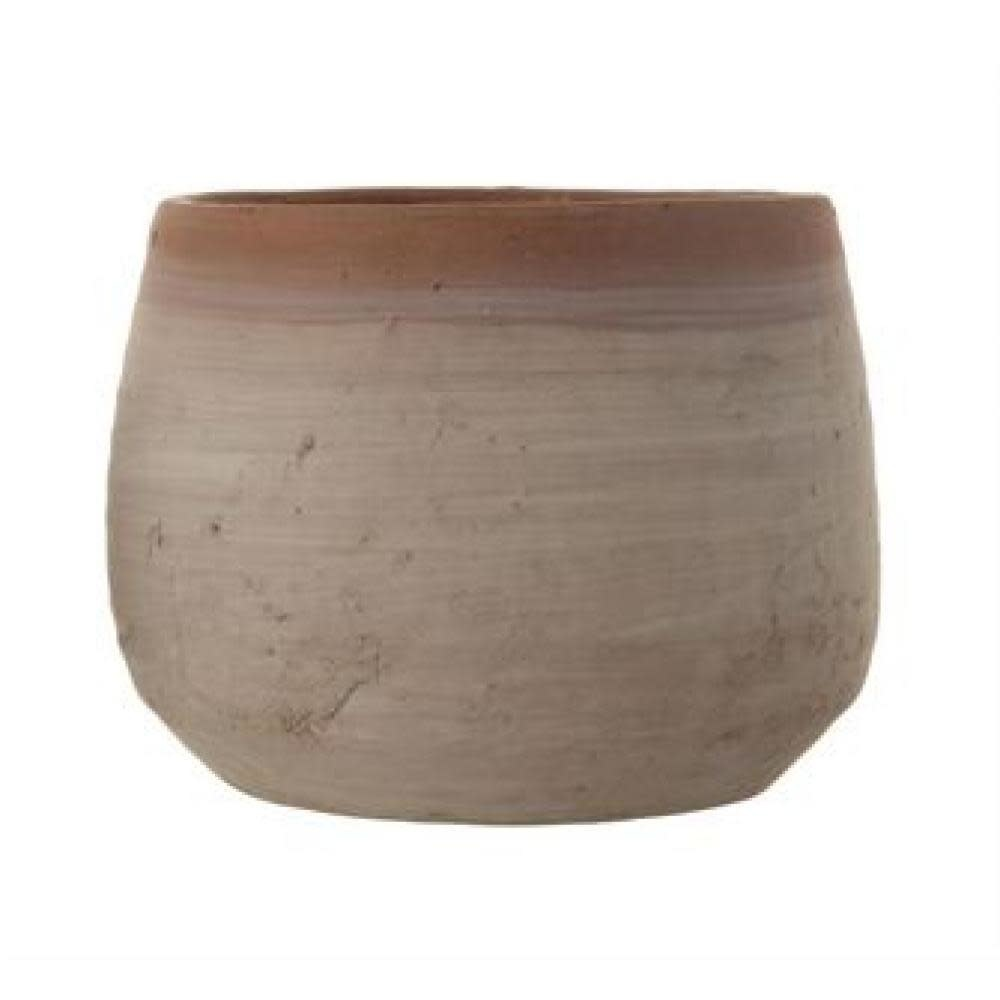 Creative Co-Op Planter - Terracotta Whitewashed 7.75in Round x 6in H