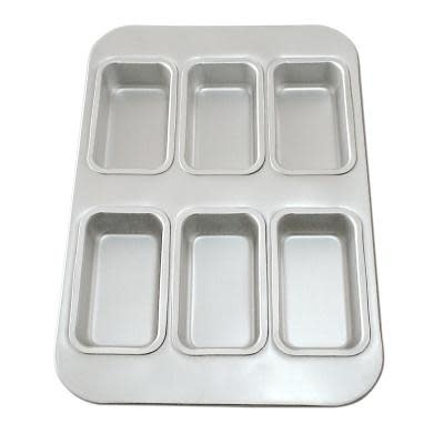 Fat Daddio's Bakeware Bread Mini Loaf Pan - Linked 6 Cavity