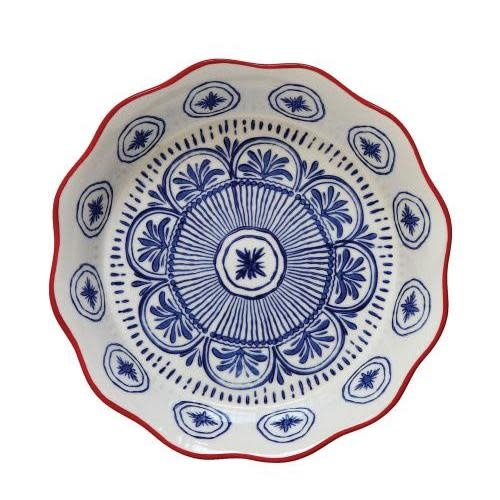 Creative Co-Op Pie Dish - Hand Stamped Blue & Red