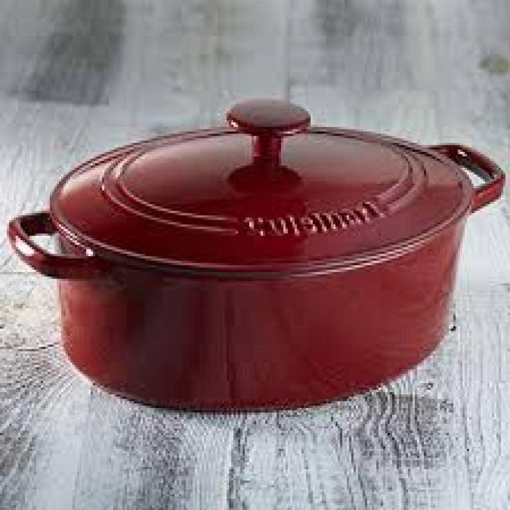 Cuisinart Cast Iron 5-1/2 QT CASSEROLE  RED  OVAL W/ CVR