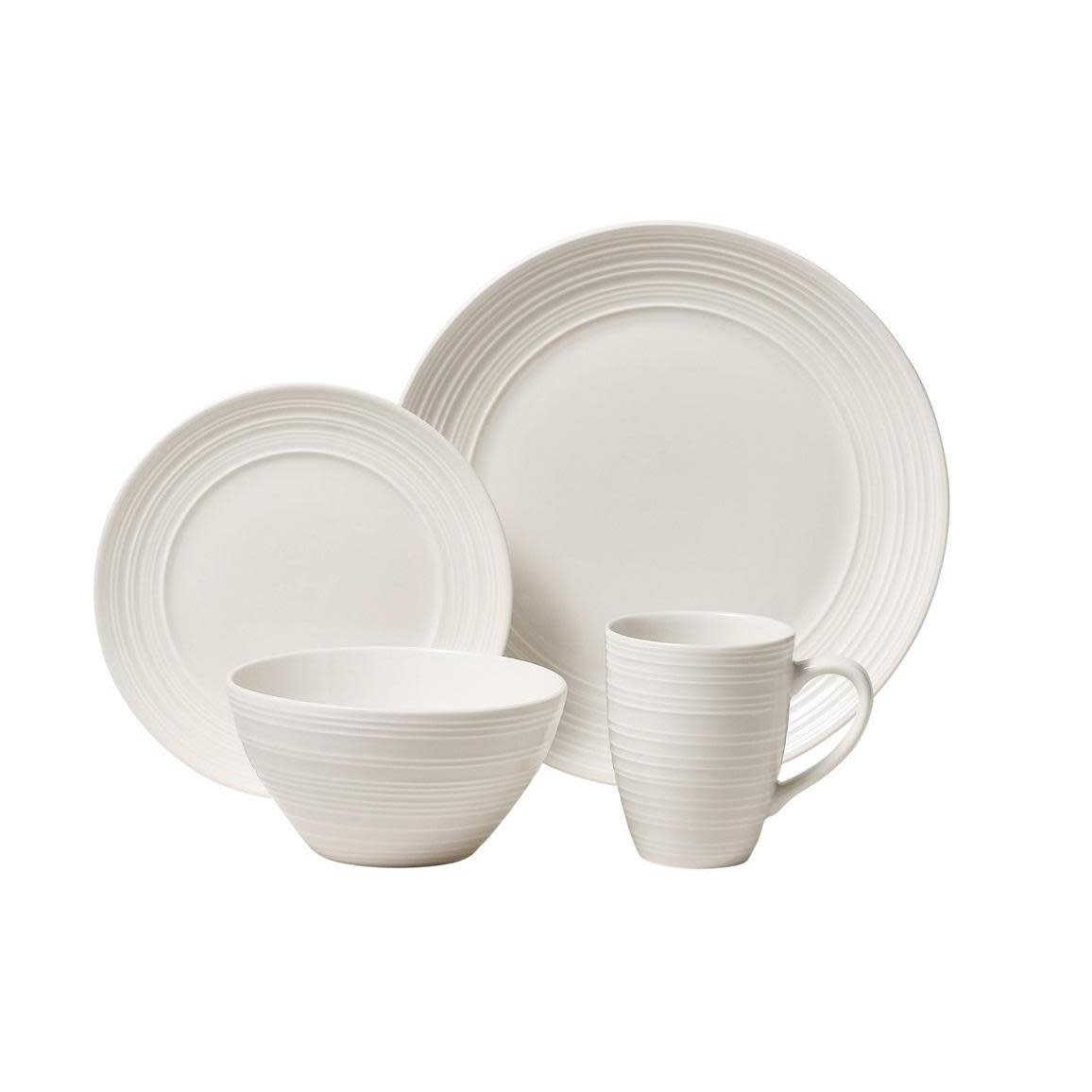 Thompson Pottery Dinnerware Set - Ripple White 16 Piece Set