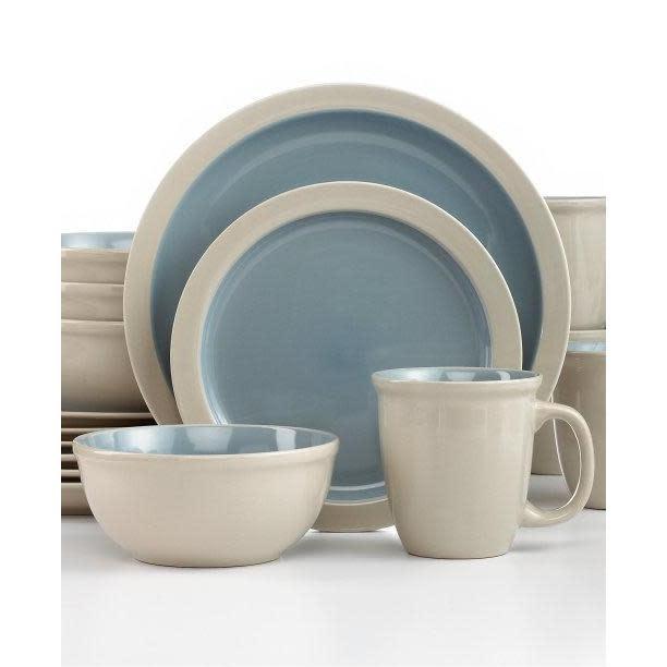 Thompson Pottery Dinnerware Set - Mali 16 Piece Set - Stone Blue