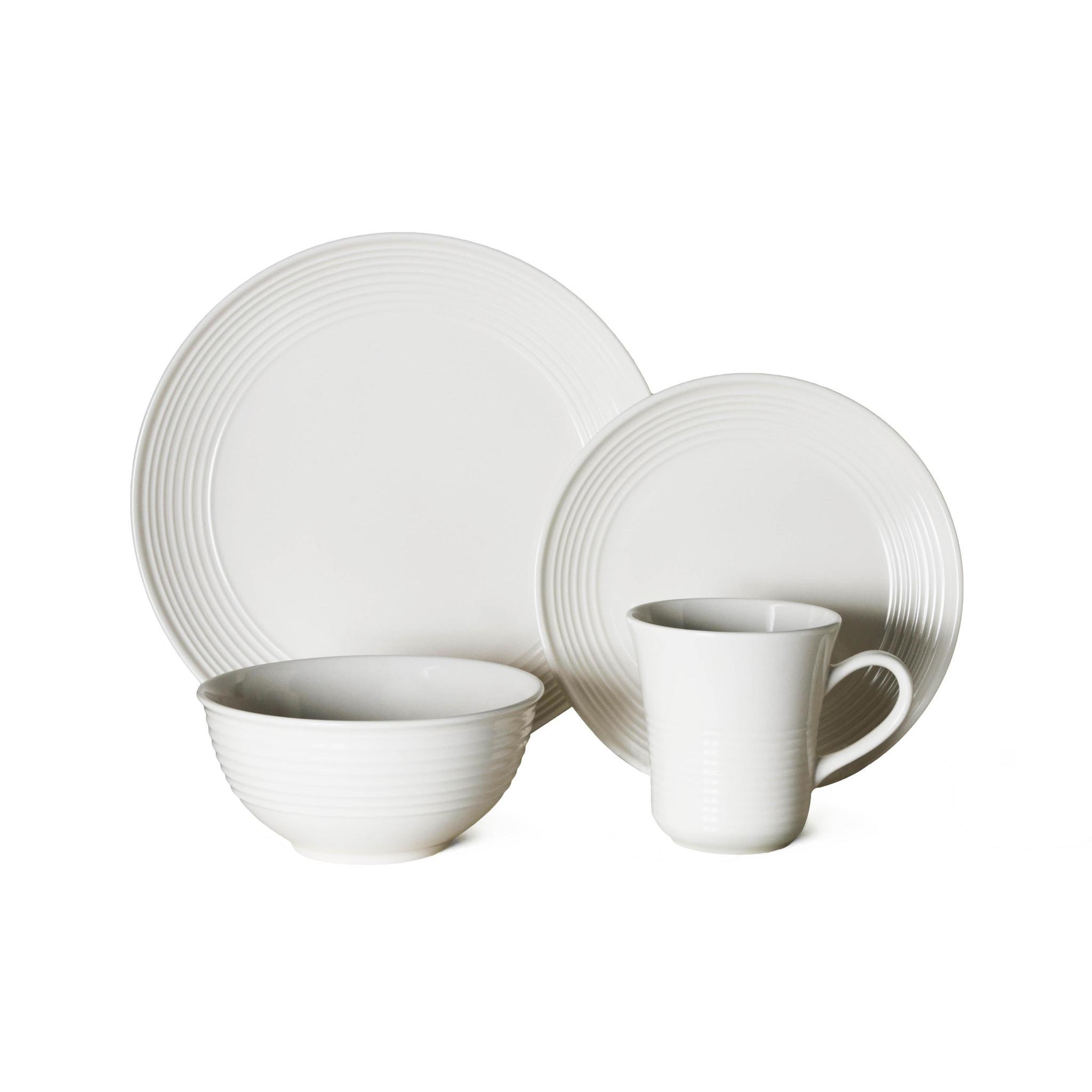Thompson Pottery Dinnerware Set - Cabo 16 Piece Set - White