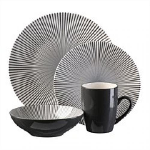 Thompson Pottery Dinnerware Set - Pattern Starburst 16 Piece Set - Black & White
