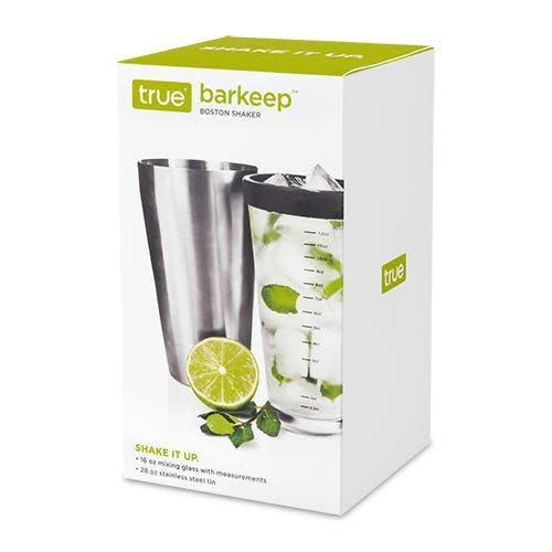 True Brands Cocktail Shaker - Tumbler With Glass Boston Barkeep