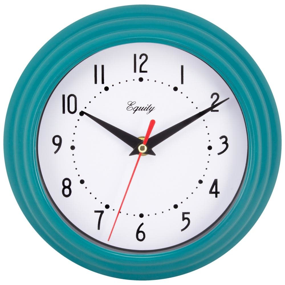 """Lacross Technology Wall Clock Analog Equity 8"""" Face-white Frame-blue-teal"""