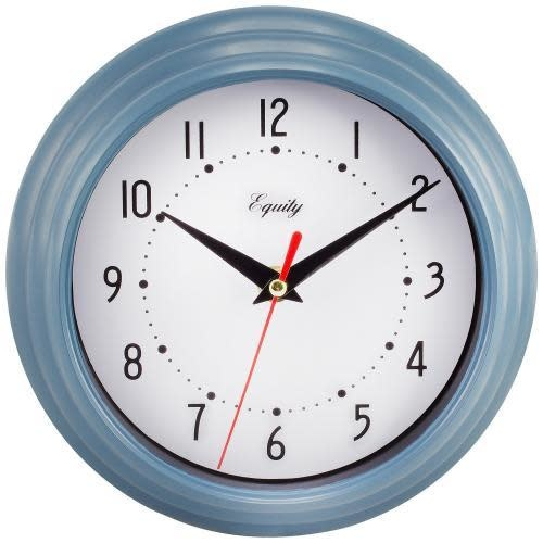 """Lacross Technology Wall Clock Analog Equity 8"""" Face-white Frame-blue"""