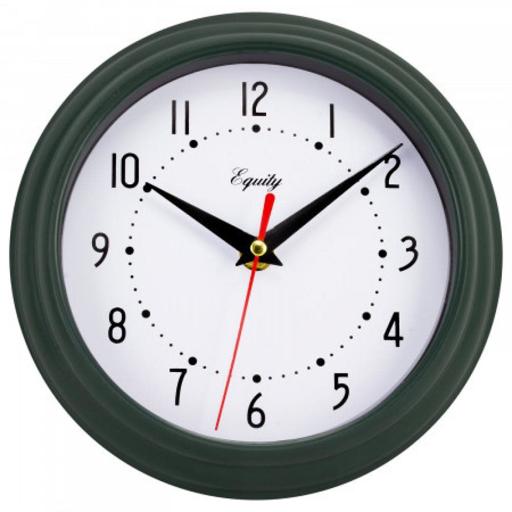 "Lacross Technology Wall Clock Analog Equity 8"" Face-white Frame-green-dark"