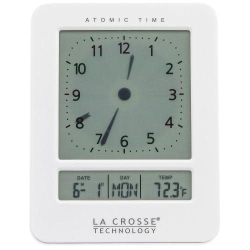 Lacross Technology Alarm Clock Atomic Digital Analog Style White