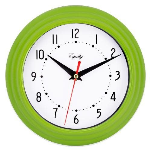 """Lacross Technology Wall Clock Analog Equity 8"""" Face-white Frame-green"""