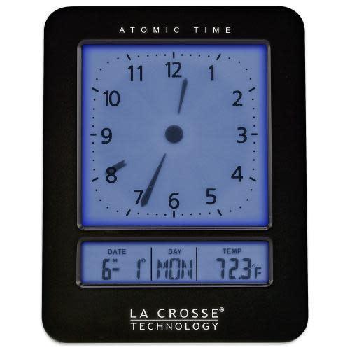 Lacross Technology Alarm Clock Atomic Digital Analog Style Black