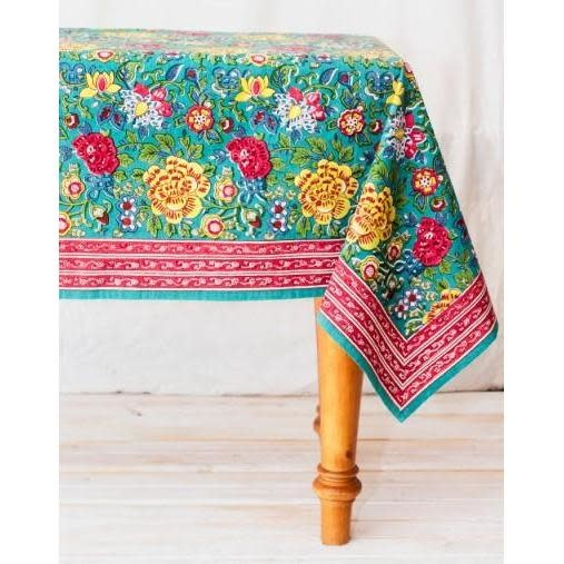"""CLM Style Laurette Tablecloth Turquoise 70"""" Round"""