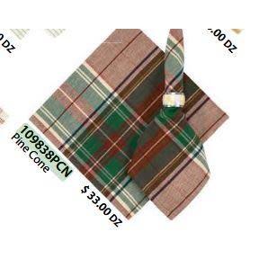 Primitive Artisan Cloth Napkin - Flatweave Napkins 22in x 22in, Pine Cone