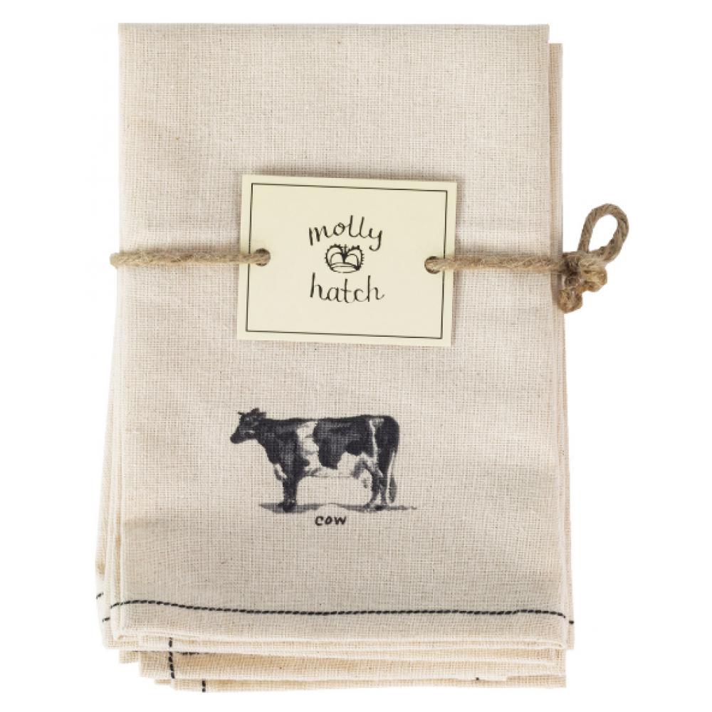 Home Essentials & Beyond Cloth Napkin - Molly Hatch Napkins B&W Farm - Set of 6