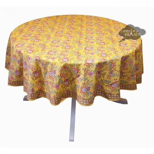 """CLM Style Juliette Yellow Tablecloth 70"""" Round"""