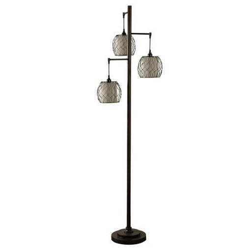 Stylecraft Mid-modern Floor Lamp With Caged Woven Shades 72in
