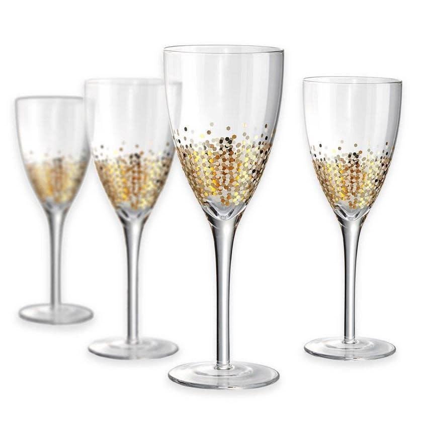 Artland Drinkware Glass Ambrosia Gold-Dot Wine 12oz