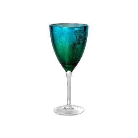 Artland Drinkware Glass Peacock Blue-Green Wine