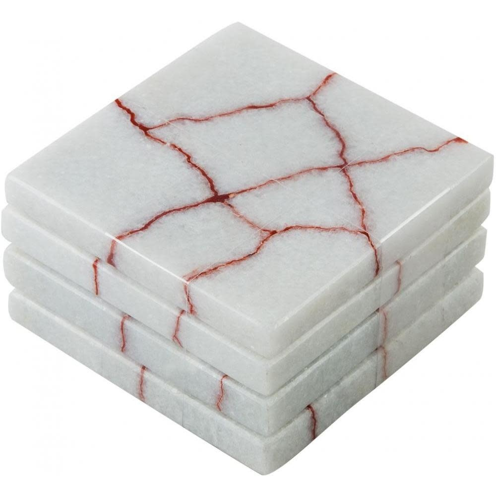 Home Essentials & Beyond Coasters - White and Red Marble Square, Set of 4