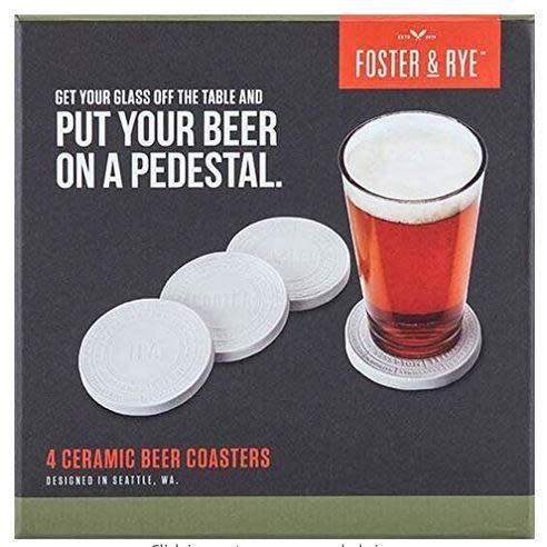 Foster & Rye Coasters - Ceramic Beer, Pack of 4