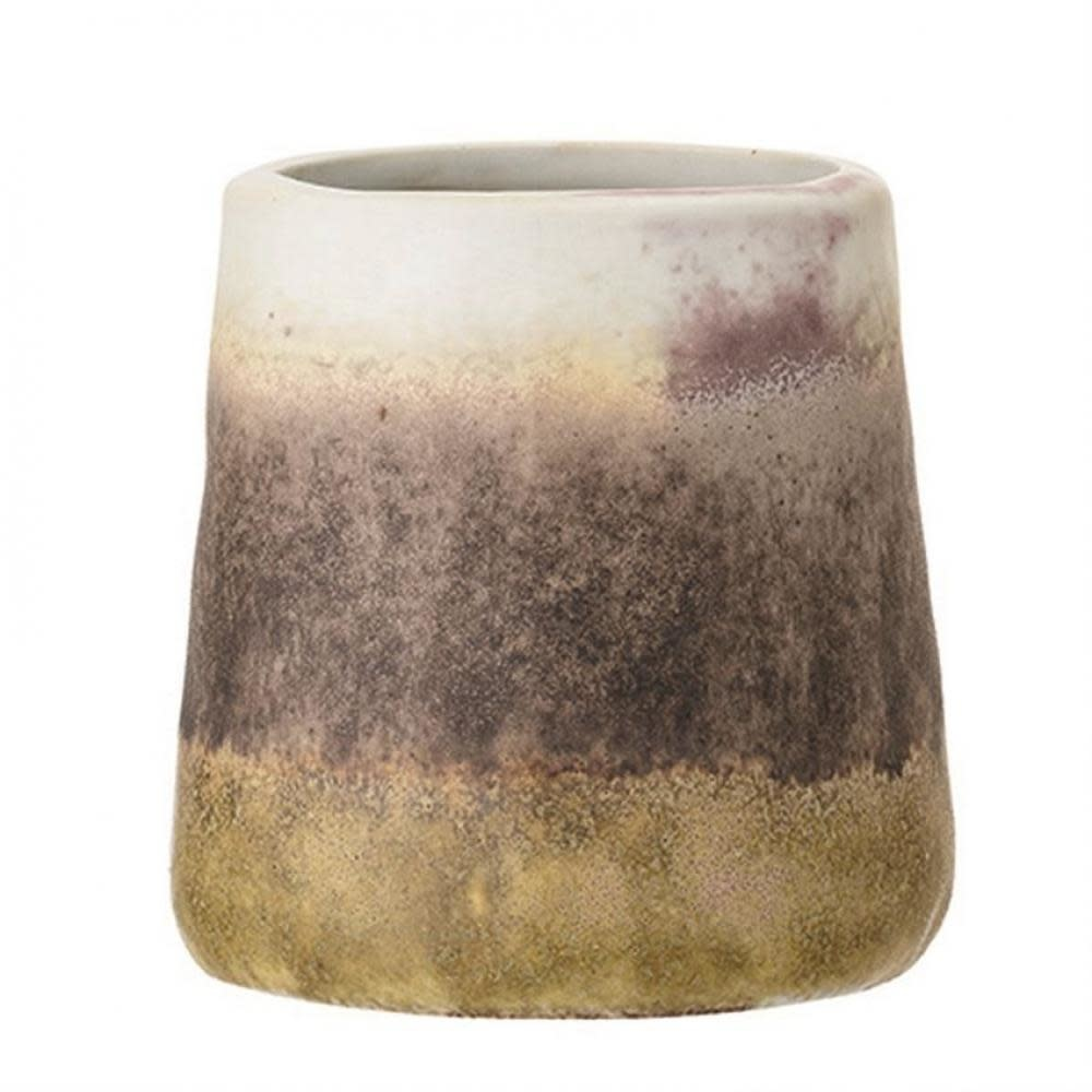 Bloomingville Drinkware - Stoneware Cup, Matte Brown Plum & Cream