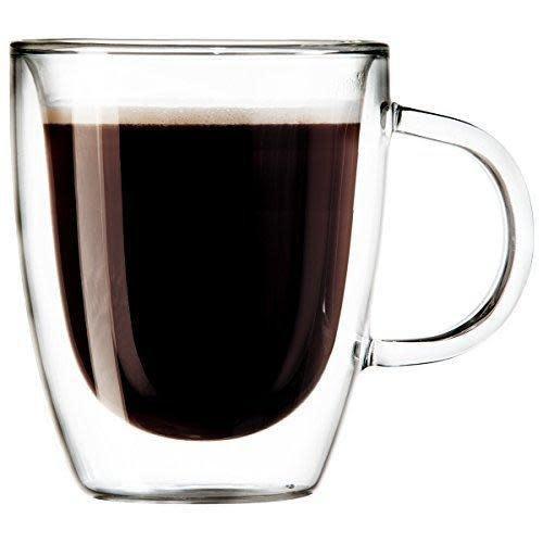 Oggi Glass Mug - Double Wall Espresso Cappuccino 3oz, Set of 2
