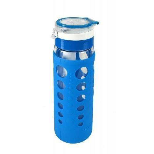 Artland Travel Water Bottle Glass Hydrapure Silicone-Wrap Blue